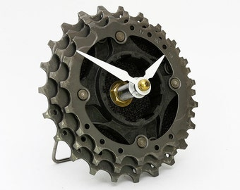 Recycled Bicycle Cog Desk Clock - Bike Clock - Bicycle Clock - Unique Bike Clock - Industrial Decor - Decorative Clock - Steampunk Clock