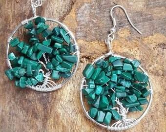 Handmade Malachite tree of life silver dangle earrings