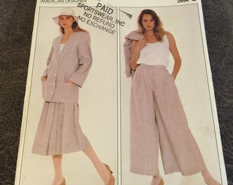 Vintage 1980s Vogue Sewing Pattern 2954 by Perry Ellis Size 10