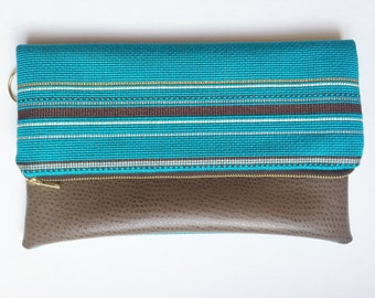 Tuquoise and Brown Fold Over Clutch