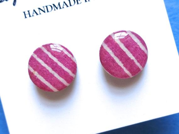 Pink Studs, Pink Earrings, Pink Stud Earrings, Japanese Paper Earrings, Chiyogami Earrings, Chiyogami Jewelry, Japanese Paper Jewelry