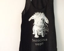 Ferocious Vegan Bunny tank / Feathered Black Women's cut