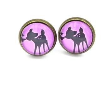 Deer glass cabochon ear studs earrings 12 mm