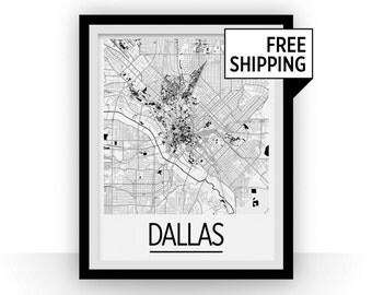 Dallas Map Poster - usa Map Print - Art Deco Series