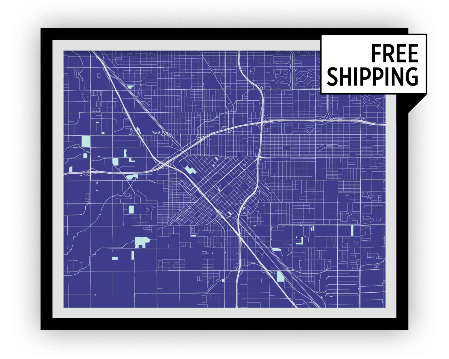 Fresno map print choose your color for Color fresno