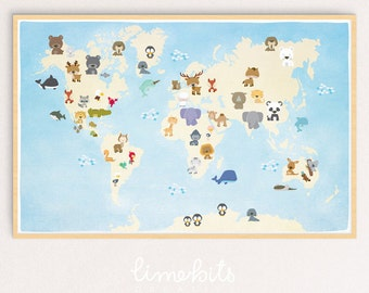 Animal World Map Printable. Tabloid Size (17 x 11 inches).
