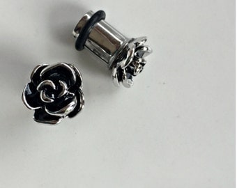 Rose gold and black metal flower stainless steel plugs for gauged or stretched ears sizes: 6g 4g 2g 0g 4mm 5mm 6mm 8mm