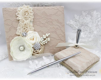 Champagne Guest Book and a Pen Holder Set Birthday Book Wedding Lace Signature Book Custom Bridal Flower Brooch Guest Book