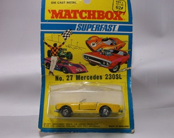 Matchbox Superfast Series Number 27 Mercedes 230SL Mint In Package  Made In England by Lesney 1971. epsteam
