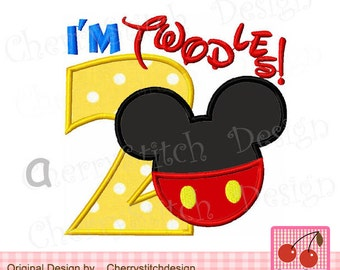 """I'm Twodles,Mickey Number 2 Machine Embroidery applique  BIR0006-approximate 4x4 5x5 6x6"""""""