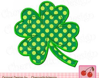 St Patrick's Day Lucky Shamrock,Lucky Green Four Leaf Clover,Lucky Clover Digital Applique Design -for 4x4 5x7 6x10 hoop