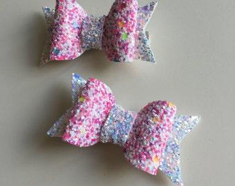 Chunky Rainbow sprinkle Bow, glitter fabric bow
