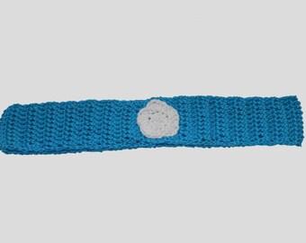 kids headband, crochet kids headband, turquoise, 54 cm