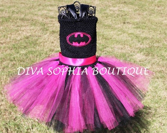 Hot Pink Batman Tutu Dress/ Batgirl Tutu Dress/ Costume