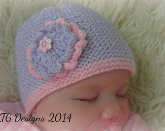 Knitting Pattern**Baby girls hat knitting pattern with flower in sizes from newborn - 6 - 12m. DIgital download pdf