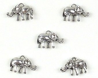 2 silver 3 d elephants, 21 x 14 mm