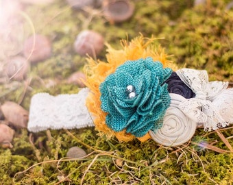 Teal Yellow Cream Headband, Navy Cream Rosettes Baby Headband ,Teal Burlap Flower Headband