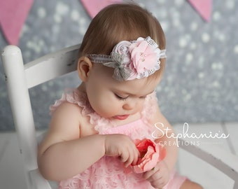 Grey Pink Baby Headband, Spring Flower Headband , Light Pink Flower Headband