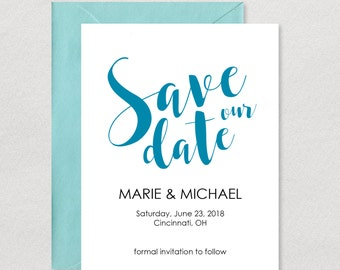 Save Our Date Card / Printable Save The Date / Cursive Save The Date / Navy Save The Date / Wedding Save The Date