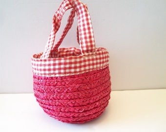 Gingham Straw Basket Handmade Upcycled Repurposed Country Farmhouse
