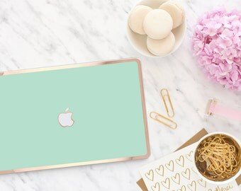 Platinum Edition New York Green Mint with Rose Gold Edge Detailing Hybrid Hard Case for Apple Mac Air & Mac Pro Retina, Mac 12""