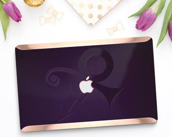 Purple Sweet Prince Embossed Love Symbol Purple with Rose Gold Hard Case for Apple Mac Air , Macbook Pro 2016 -  Platinum Limited Edition