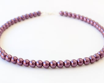 Bridesmaid plum pearl necklace, plum jewelry, bridesmaid gift, wedding gift, wedding party, valentine gift, mother necklace