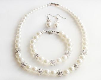Bridesmaid jewelry set of 1, 2, 3, 4, 5, 6, 7, 8 bridesmaid gift, pearl necklace bracelet, pearl jewelry, bridal jewelry, wedding gift