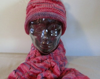 Hand Knit Wool Hat & Scarf Set