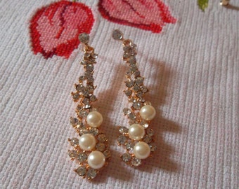 Swarovski Crystal & Pearl Bridal Earrings Gold Plated