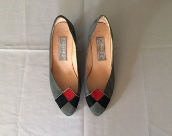 chess board flats | geometric 1980s slate grey, black and red suede pumps