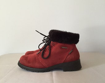 wine red suede ankle boots | fur shearling ankle boots | 7.5