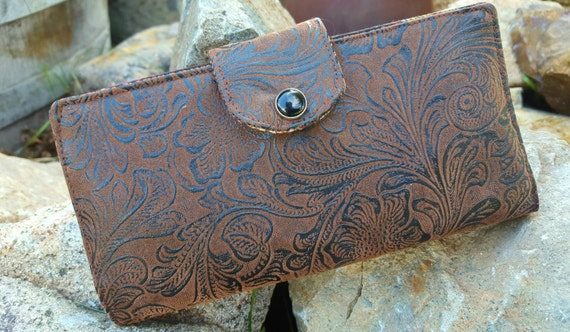 Tooled Leather Checkbook Cover, Dark Brown Faux Leather Coupon Wallet