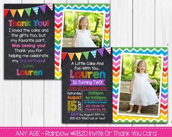 Rainbow Birthday Invitation Or Thank You Card Any Age Digital File