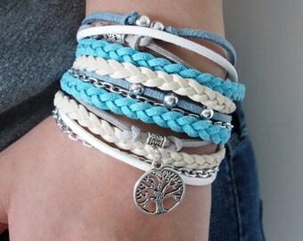 Leather Wrap Bracelet, Bohemian Wrap Bracelet, Bohemian Jewelry, Bohemian Bracelet, Boho Wrap Bracelet, Handmade Jewelry, Leather Bracelet