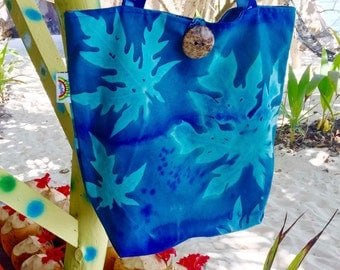 Handprinted Nature Embossed Canvas Tote Bag Made in Seychelles: Blue