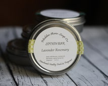 Lavender Rosemary Solid Lotion Bar - Handmade - Fresh - Essential Oil Blend - All Natural