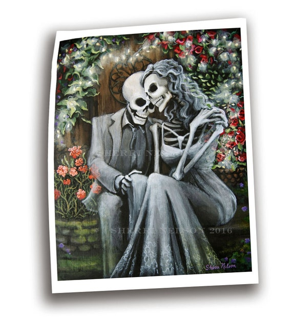 Day of the Dead Romantic Art Skeleton Couple Print by ...