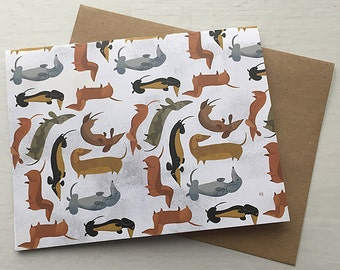 Wiener Dog Pattern Note Card (Set of 5 Cards)