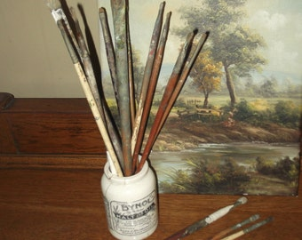 Set of  Antique or Vintage Artists Paint Brushes