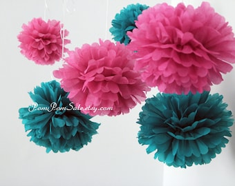 Frozen - Anna & Elsa Party - 8 tissue paper pom poms - for Birthday Party / Baby Shower / Room Decoration - Fast Shipping