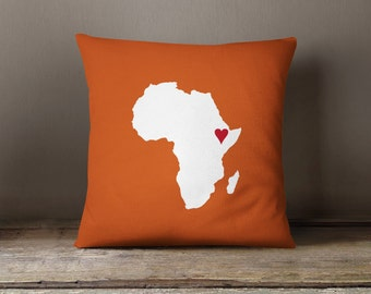 Custom African Map Throw Pillow and Cover-Burnt Orange-White-Red-Customize with ANY Colors-Available in 14x14-16x16-18x18-20x20-14x20-26x26