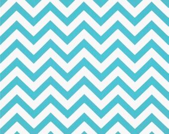 Girly Blue and White Chevron ZigZag Twill Fabric - One Yard - Premier Print Fabric
