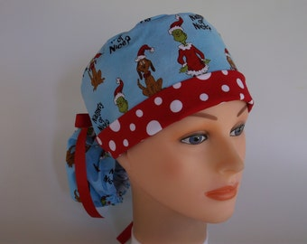 Naughty or Nice Grinch fabric Ponytail - Womens lined surgical scrub cap, Nurse surgical scrub hat, 133/131-4310 W