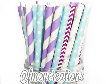 Frozen Birthday, Frozen Party Paper Straw Combo with Pink, Frozen Party, Frozen Party Ideas,Elsa Birthday, theme party frozen, girl birthday
