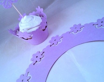 Set of 12 flowers cupcake wrappers, party, baby shower, wedding, birthday, special eents.