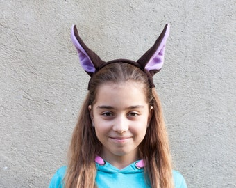 Bat Ears Headband, Bat Costume, Brown and Purple Ears Head Band, Children's or Adult's Photo Prop, Pretend Play