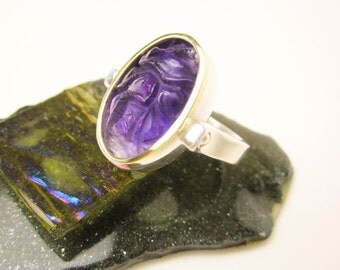 Swivel Ring, Genuine Carved Amethyst, Antique Amethyst Lotus, Sterling & 14K Bezel 2 Tone Swivel Ring, Carved Chinese Amethyst ca.1900