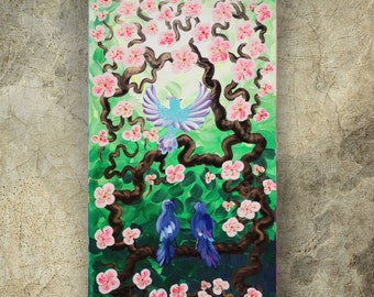GRADUATiON GiFT BiRDS Family on brunch blossom tree SaKURA art painting contemporary artwork acrylic on canvas by Ksavera gift ideas for her