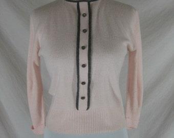 50s 60s Blairmoor Pink Orlon Womens Vintage Pin Up Sweater C 38